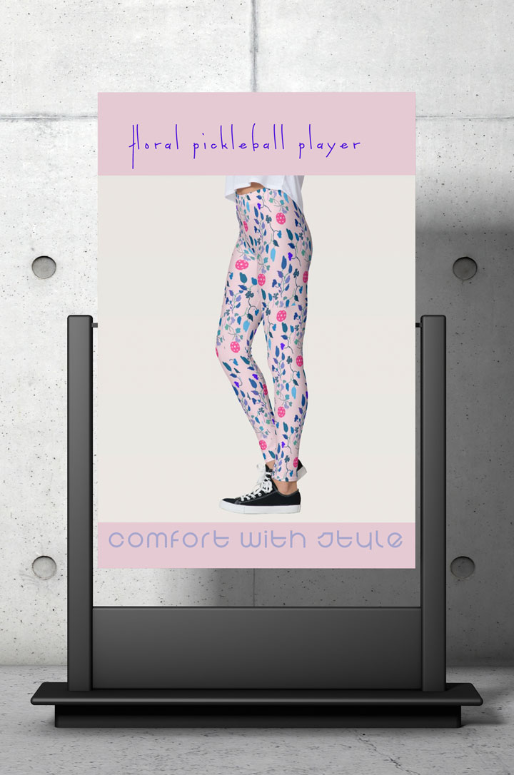 Pink and blue floral pattern pickleball leggings for women